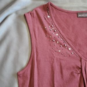 NWT Burgundy Beaded Sequin Sleevless Work Tank
